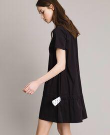 Robe en popeline avec cordon Noir Femme 191MP2191-04
