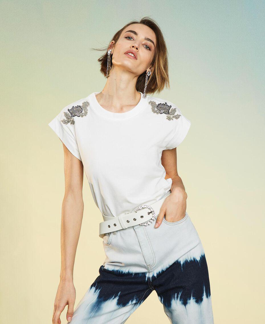Double wrap belt with rhinestones Vanilla White Woman 211MO5300-0S