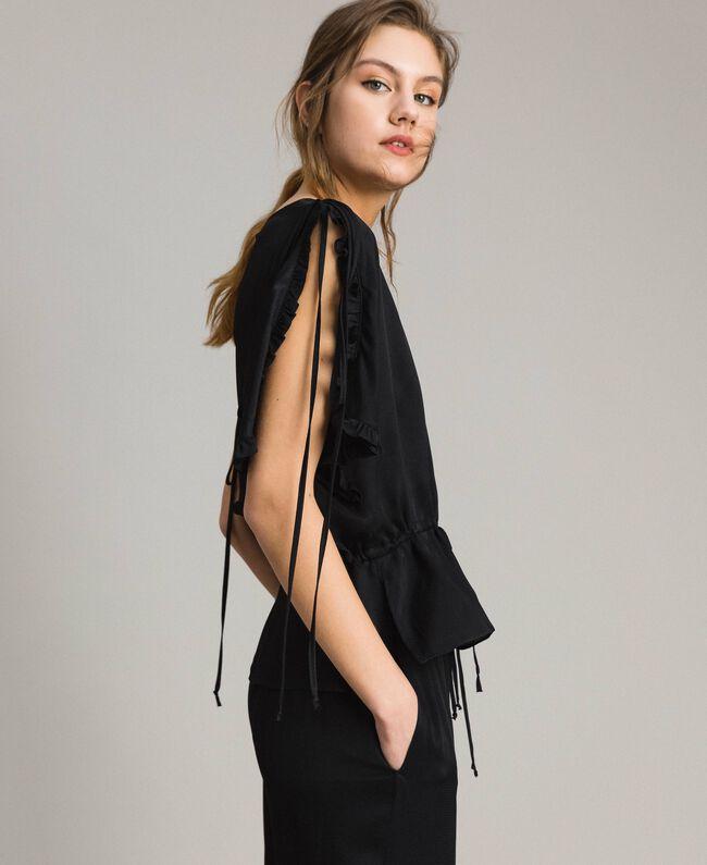 Bluse mit Rüschen aus Seidenmischung Schwarz Frau 191TT2071-03