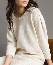 Robe en maille avec dentelle Blanc Neige Femme 191TP3200-04