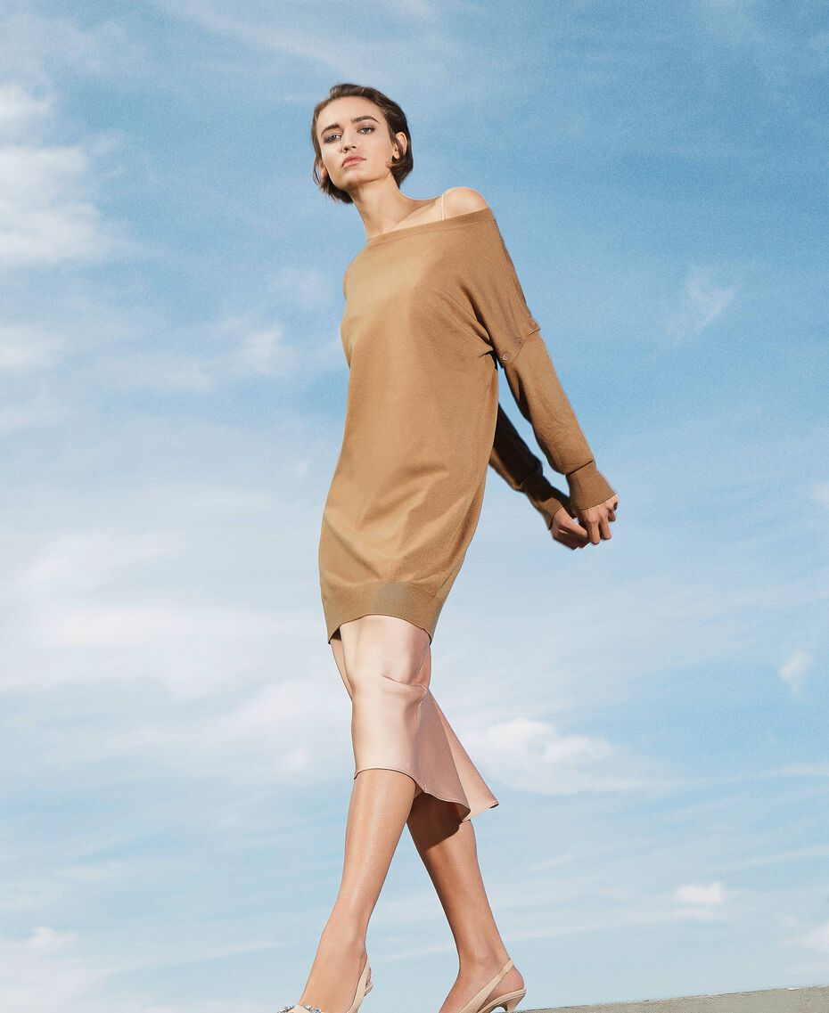 """Knit dress with removable sleeves """"Dune"""" Beige Woman 202MP3032-01"""