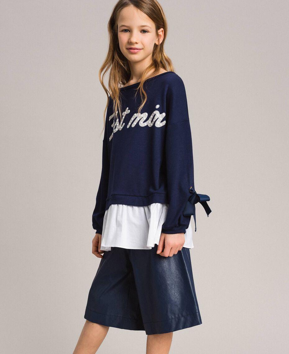 Sweat shirt au point de Milan et popeline Bicolore Indigo / Blanc Optique Enfant 191GJ2212-02