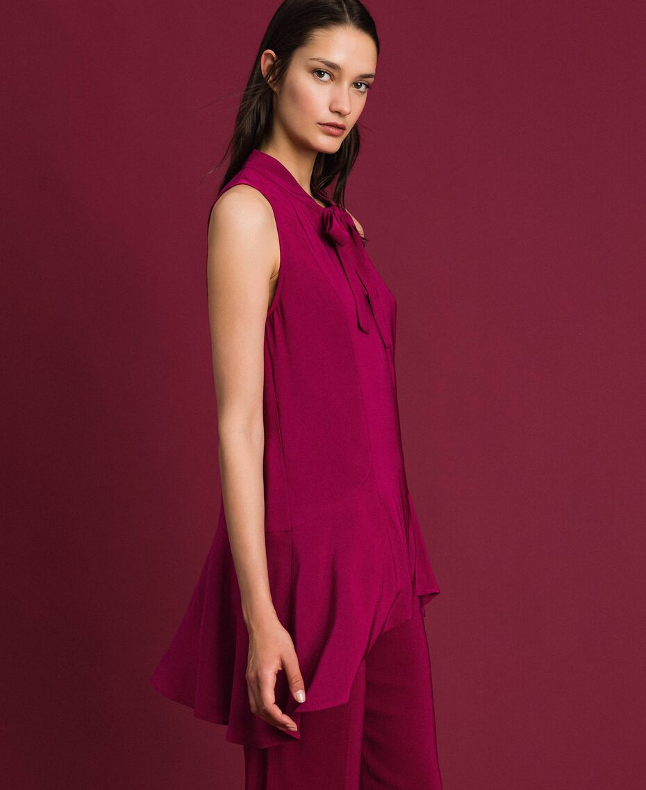 Georgette blouse with pussy bow Beet Red Woman 192TP2383-02