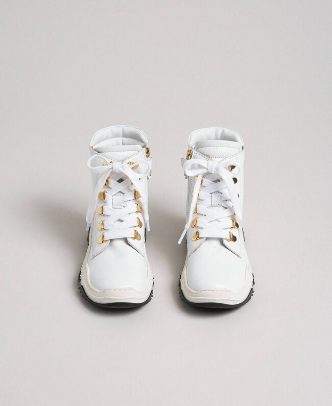 High leather trainers with trekking fastening White Child 192GCJ022-04
