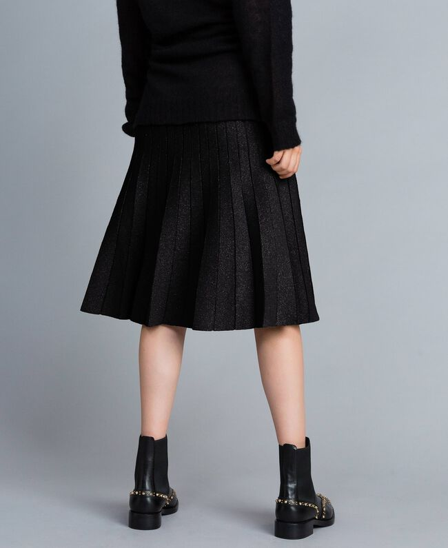 Gonna longuette in maglia plissé lurex Nero Lurex Donna PA83CD-03