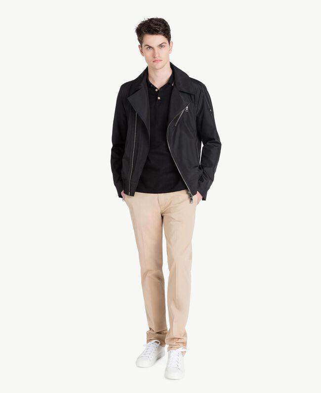 Technical fabric biker jacket Black Man US8232-05