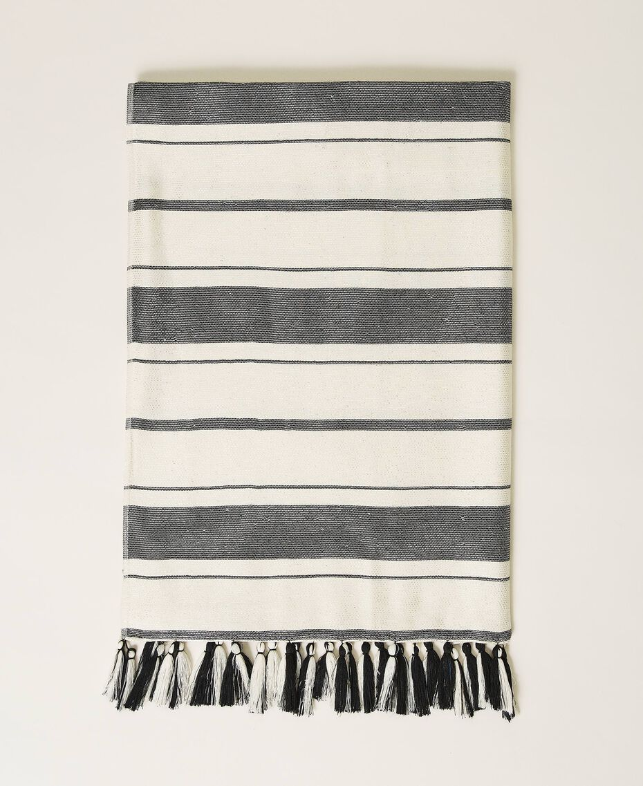"Jacquard striped scarf ""Snow"" White / Black Multistripe Woman 211TO5045-01"