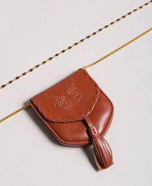 Leather coin purse necklace Leather Brown Woman 191TO5345-02