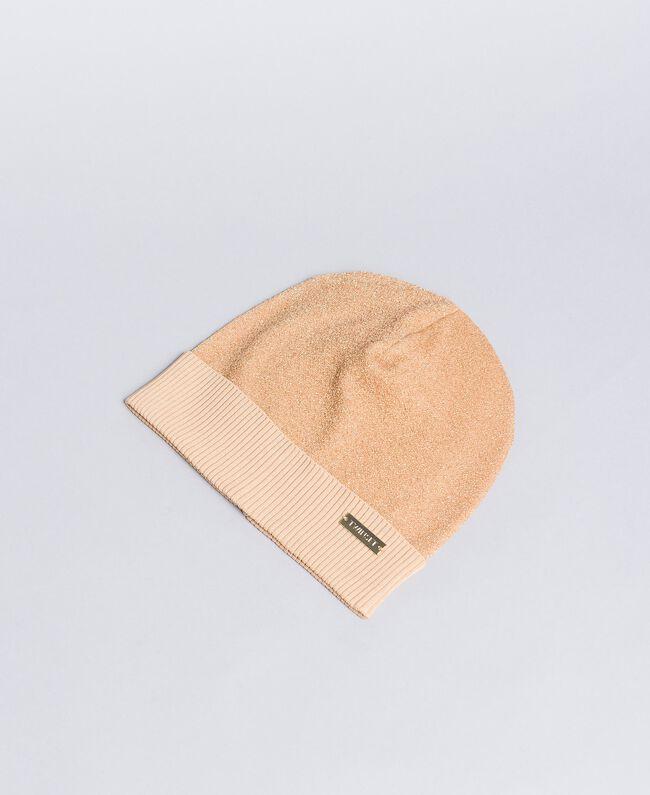 Mütze aus Lurexgarn Dünenrosa Frau LA8LKK-01