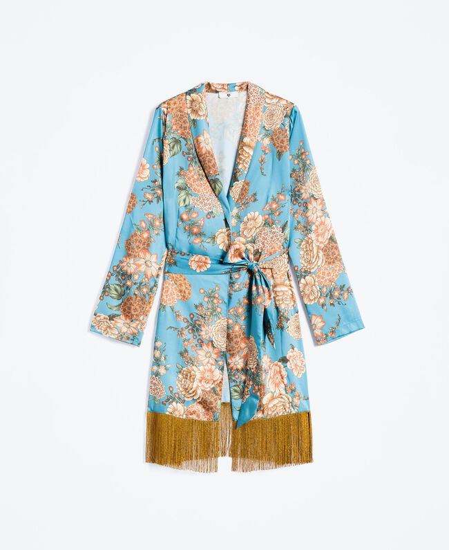 "Floral print twill dressing gown ""Blue Melancholia"" Flower Light Blue Print Woman LA8KRR-01"