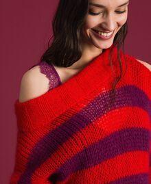 Gestreiftes Kleid aus Mohair mit Unterkleid Streifen Rote-Bete-Rot / Granatapfel Frau 192TP3270-05