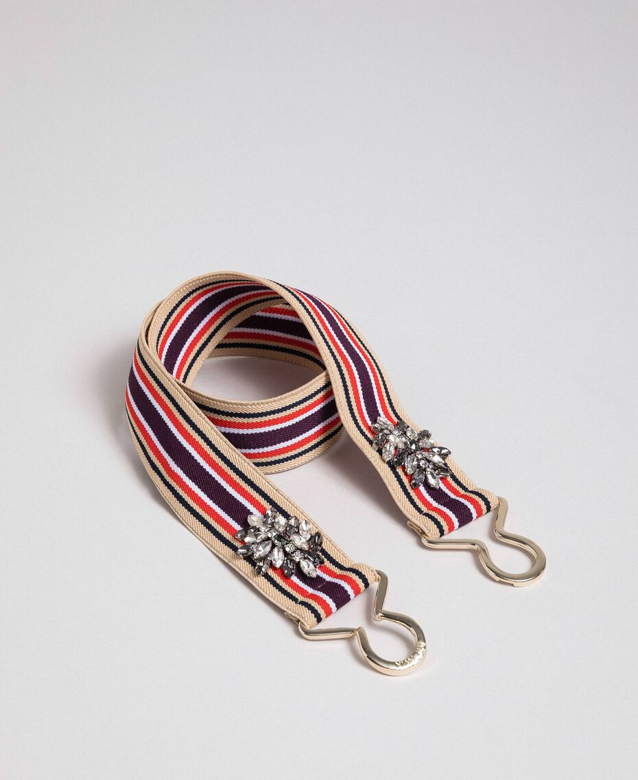 Multicolour elastic belt with stones Burgundy Red Striped / Indigo Woman 192MO5341-02