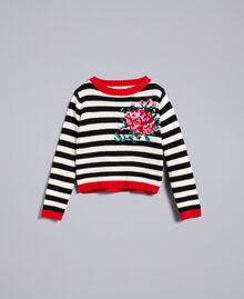 Pull en laine mélangée rayée Bicolore Noir / Blanc Cassé Enfant GA83GA-01