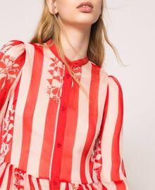 Длинное платье из крепона в полоску и цветочный рисунок Принт Цветок на Полосатом фоне Снег / Черный женщина 201TP2300-04