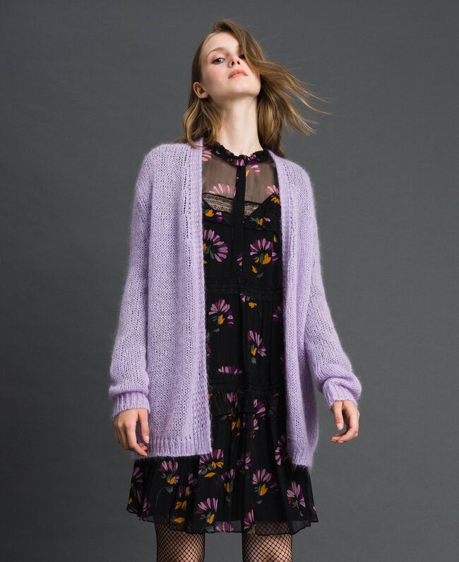 """Cardigan in mohair Rosa """"Pink Lavender"""" Donna 192TT3270-03"""