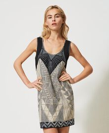 "Linen blend dress with embroideries Two-tone ""Dune"" Beige / Embroidered Black Woman 211TT2611-03"