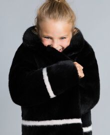 "Faux fur jacket Bicolour Black / ""Blush"" Pink Child GA82AN-04"