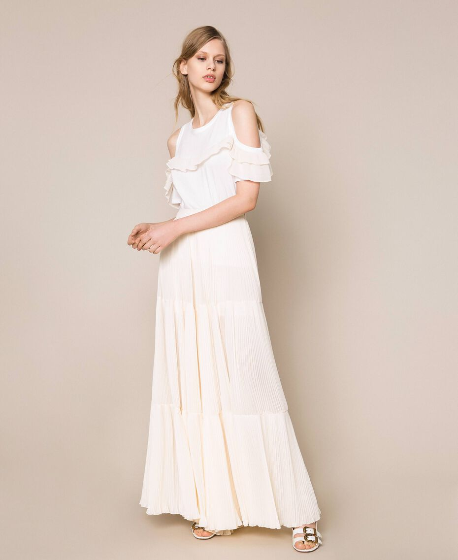 Pleated georgette trousers Antique White Woman 201TT2094-02