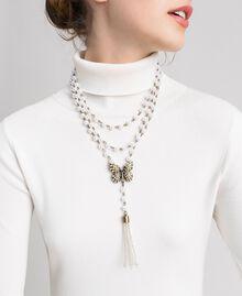 Collier avec rangées de perles et charm papillon Laiton Usé Femme 192TA4360-0S