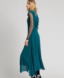 Robe longue en crêpe georgette avec broderies florales Bleu Vert minéral Femme 192TP2161-03