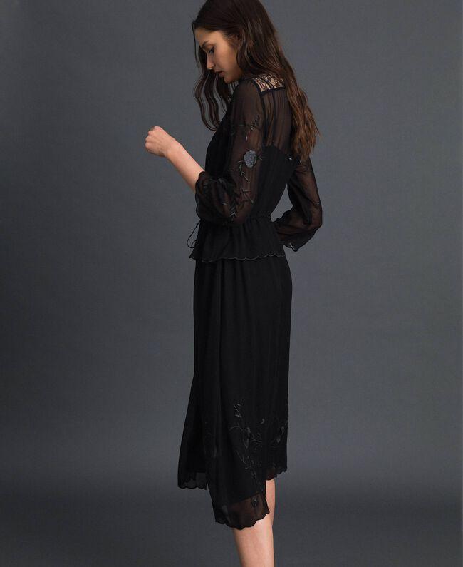 Robe longue en crêpe georgette avec broderies Noir Femme 192TP2340-03