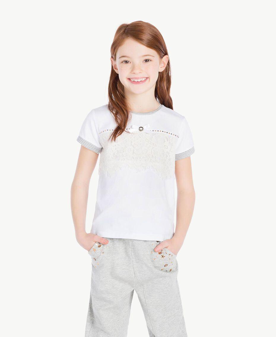 T-shirt dentelle Bicolore Blanc Papyrus / Chantilly Enfant GS82UP-02