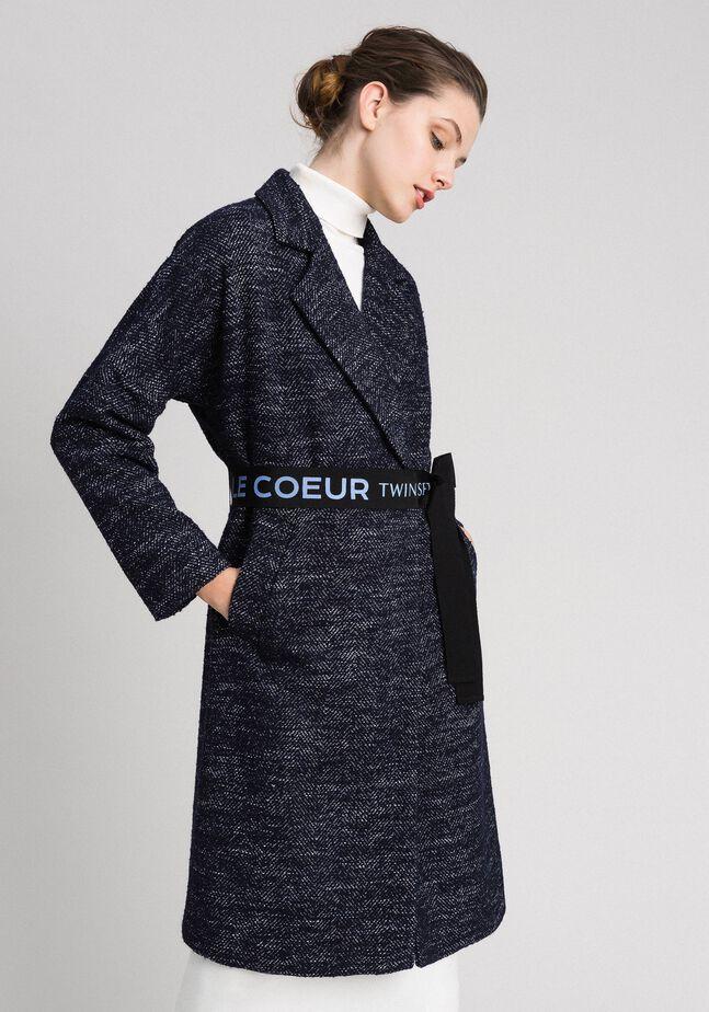 Chevron wool cloth coat with belt