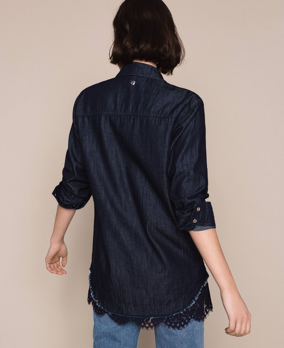 Denim shirt with lace Denim Blue Woman 201MP2402-03