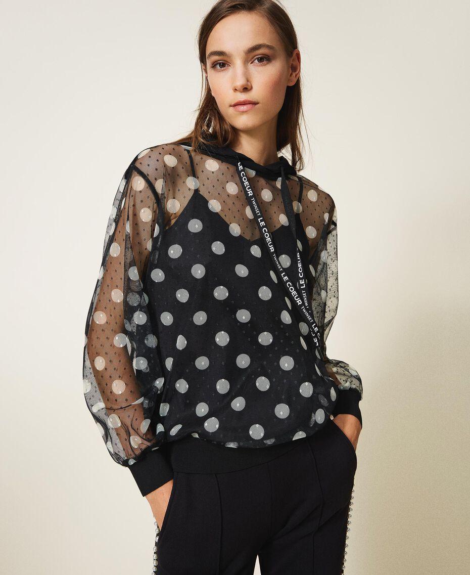 Polka dot tulle and crêpe de Chine sweatshirt Black Polka Dot Print Woman 202ST2063-01