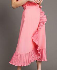 "Maxirock aus plissierter Seidenmischung ""Wild Rose"" Pink Frau 191TP2146-02"