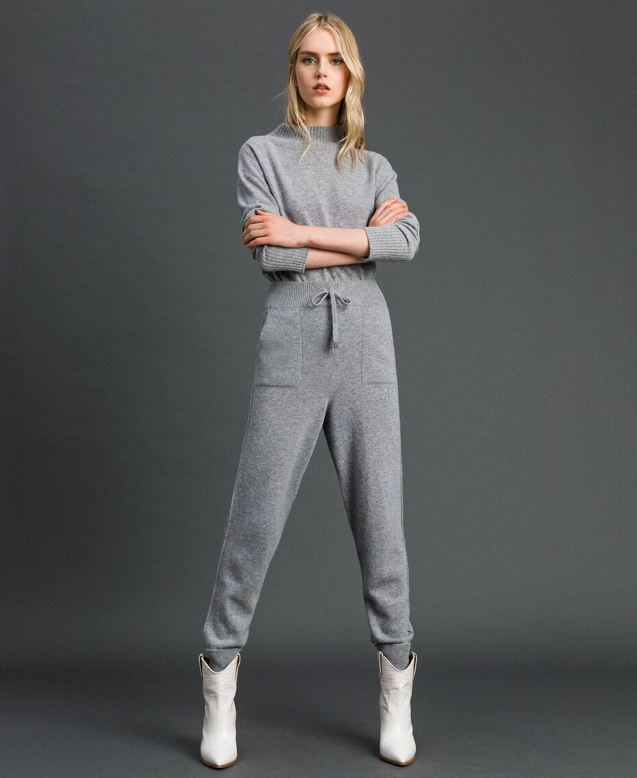 Wool and cashmere jogging trousers Melange Grey Woman 192TT3024-02