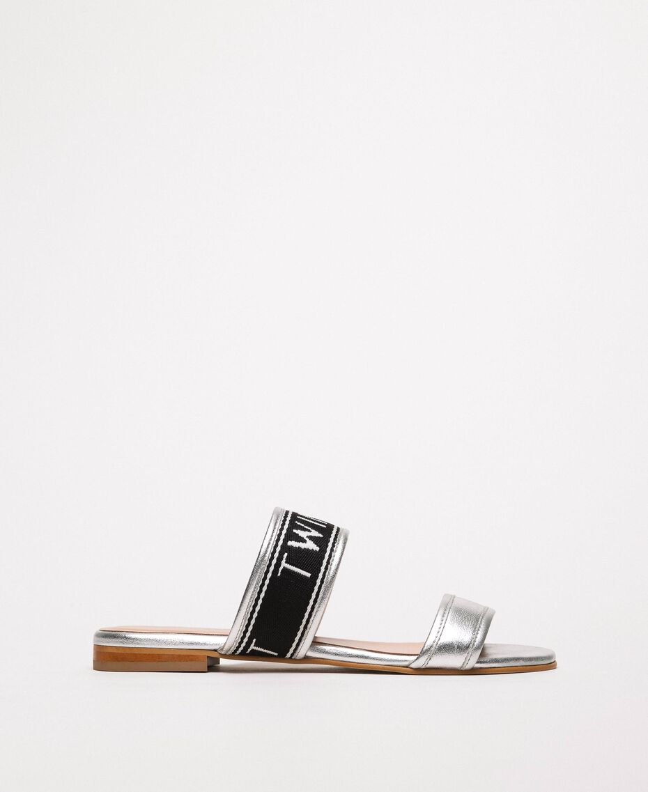 Laminated leather flat sandals with logo Laminated Silver Grey Woman 201TCP130-02