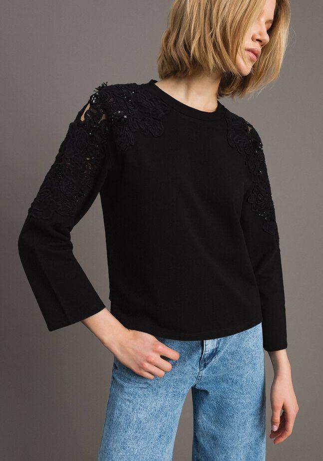 Sweat-shirt avec patchs floraux brodés