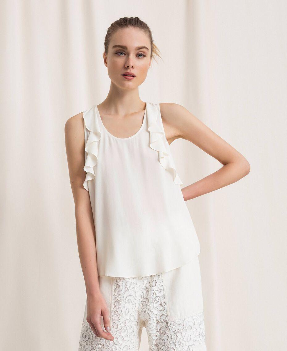 Top en soie mélangée avec volants Blanc Neige Femme 201TP2507-01
