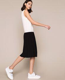Robe longue en crêpe de Chine avec dentelle Bicolore Blanc «Soie»/ Noir Femme 201ST2010-02