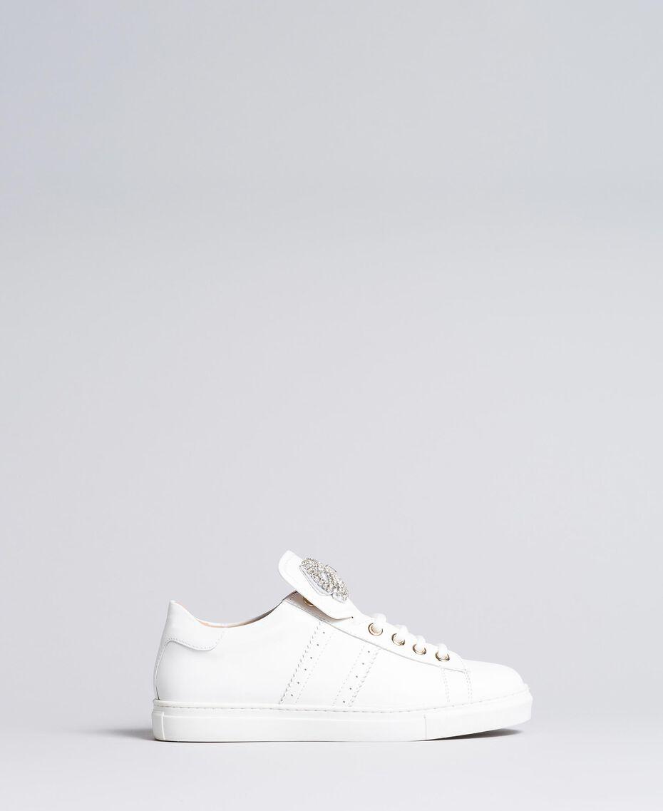Sneakers in pelle bicolore con patch fiocco Bianco Donna CA8PBG-02
