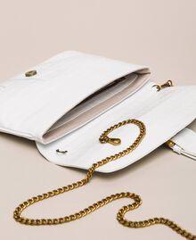 """Croc print leather Rebel pochette """"Snow"""" White Crocodile Print Woman 201TA7112-05"""