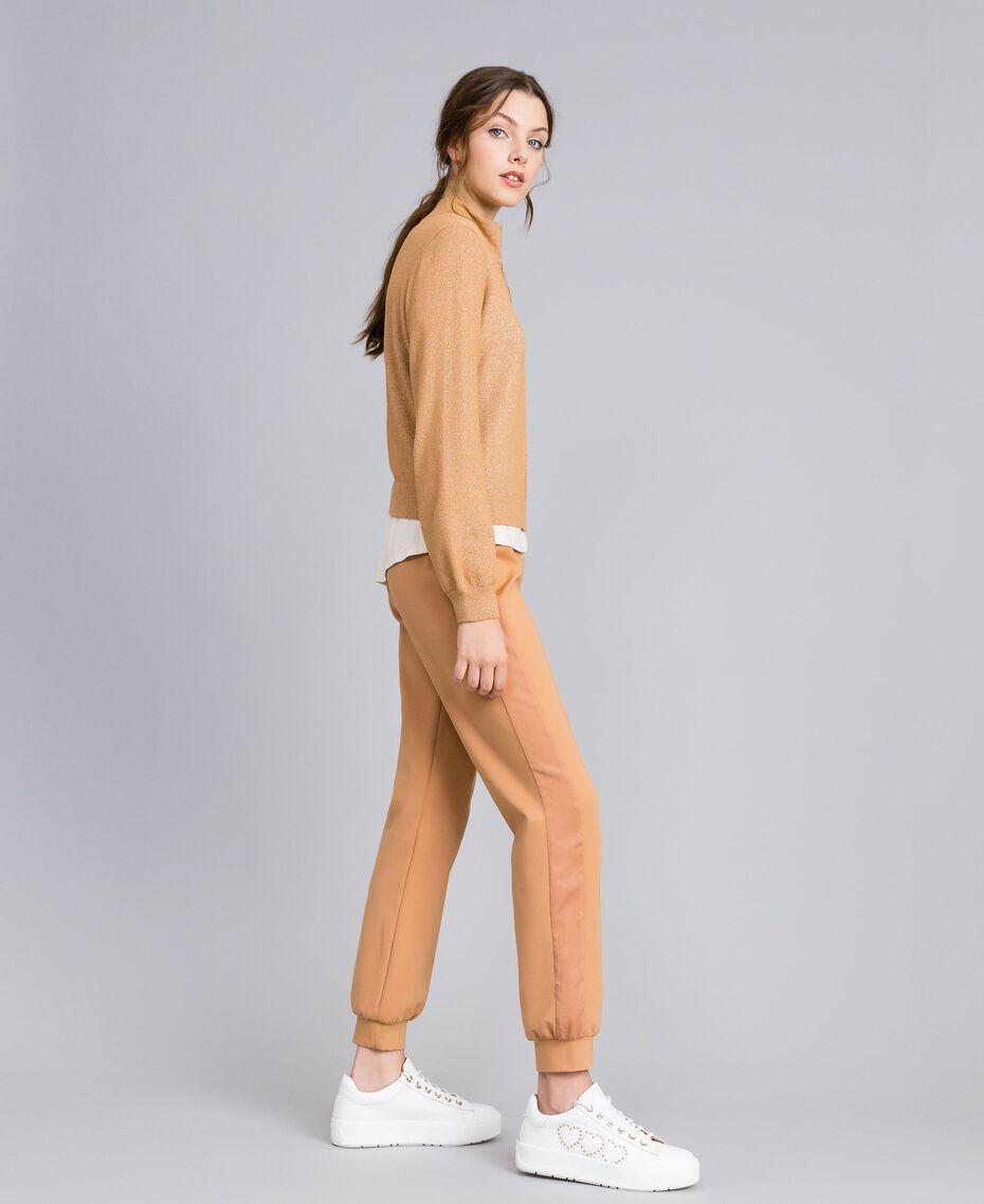 """Lurex yarn cardigan """"Amber Dust"""" Brown Woman IA82HH-0T"""