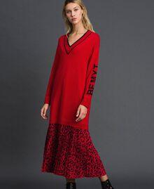 Robe en maille avec insertion animalière Bicolore Noir / Lys Femme 192MP3052-01