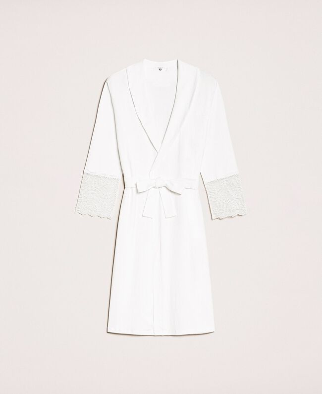 Lace dressing gown Ivory Woman 201LL21FF-0S