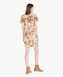 "Printed dress Flat Flower Print ""Rope"" Beige Woman SS82PD-03"
