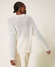 Cable knit mohair jumper Creamy White Woman 202TP3191-04