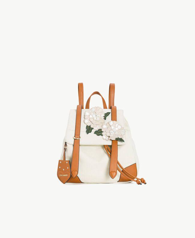 TWINSET Rucksack aus Canvas Zweifarbig Dünenbeige / Leder Frau OS8TAG-01
