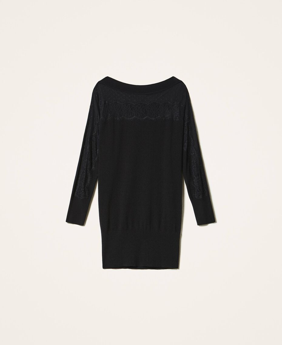 Robe en maille avec tulle et dentelle Noir Femme 202TP3380-0S