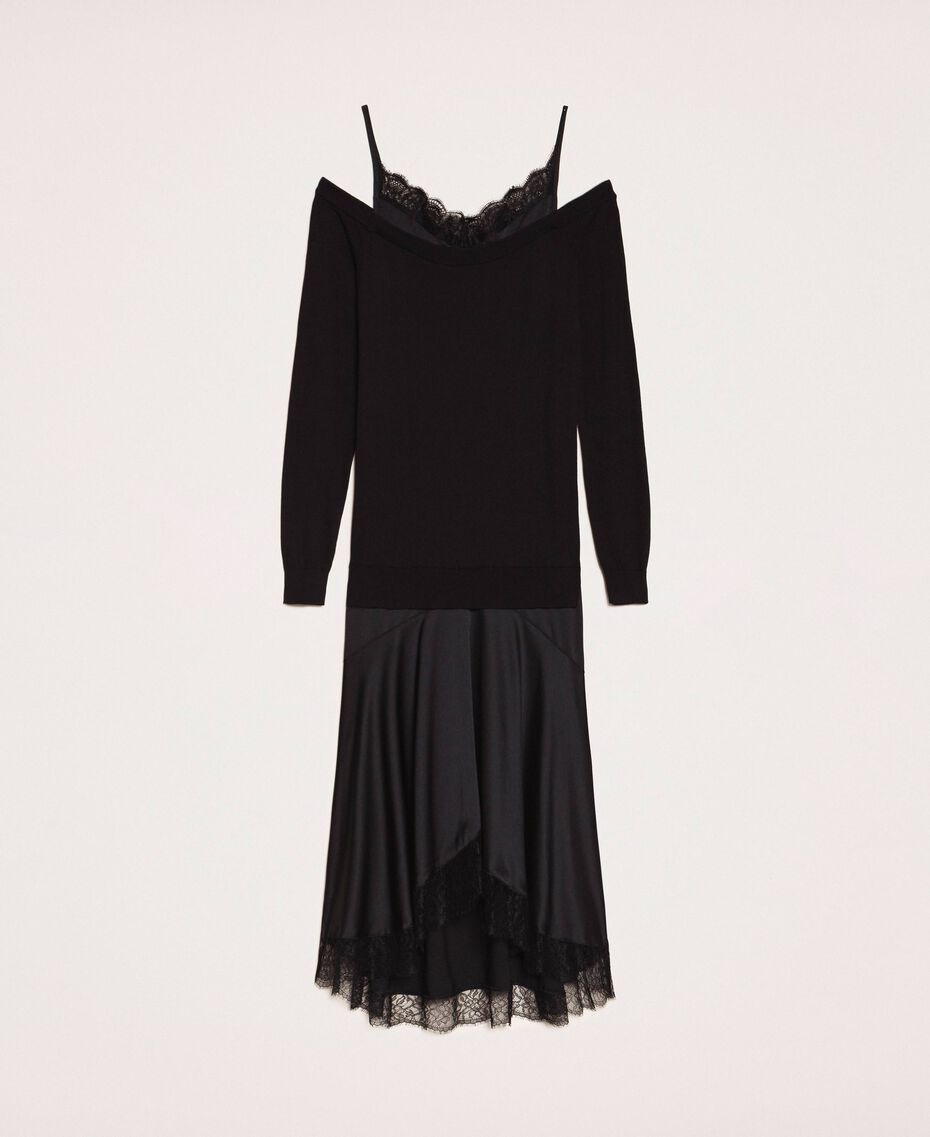 Knit dress with slip effect satin Black Woman 201TP3070-0S