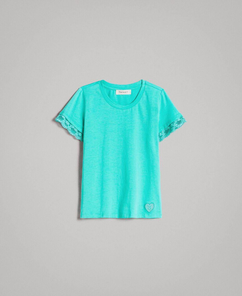 "Jersey T-shirt with lace ""Island Paradise"" Light Blue Child 191GJ2180-01"