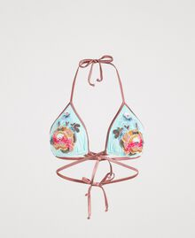 Triangle bikini top with embroidery Light Mousse Blue Woman 191LBM122-01