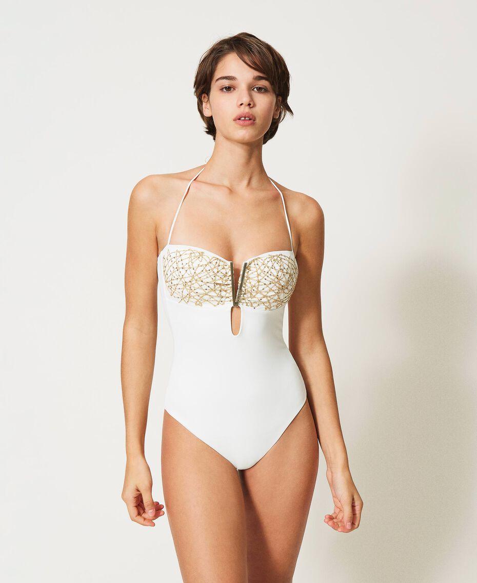 Badeanzug mit Pailletten Elfenbein Frau 211LMM800-01