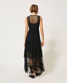 Tulle long dress with lace and fringes Black Woman 202TP2372-04