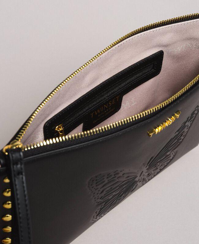 Pochette en cuir ornée de clous Cuir Femme 191TO8263-04